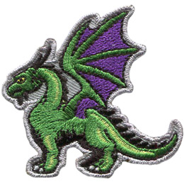 This mighty, green dragon has his wings stretched high into the sky and stands proudly with his neck arched.
