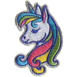 A unicorn profile is shown with a rainbow horn and mane.