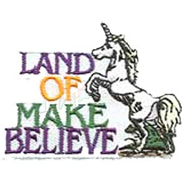 A beautiful white unicorn rears at the words ''Land Of Make Believe.'' The unicorn is a horse with a regular mane, tail, and hooves. A spiral horn grows gracefully from its forehead.