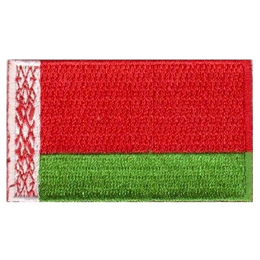 This flag is composed of two horizontal bars and one vertical bar. The vertical bar is on the left and has a white background with red decoration. The two horizontal bars are on the right. The top bar is red in colour and twice as large as the bottom bar, which is green in colour.
