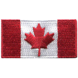 This rectangular flag has two thick vertical red stripes, one on the far right and one on the far left of the flag. In the center of the flag is a red maple leaf, the symbol of Canada, on a white square background.