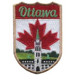This shield patch has the word ''Ottawa'' embroidered at the top. Beneath it lies the Canadian parliament building with the Canada maple leaf standing proudly behind it.