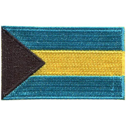 The national flag of the Bahamas consists of a black triangle situated at the hoist with three horizontal bands: aquamarine, gold and aquamarine.