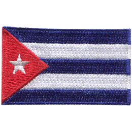 The national flag of Cuba consists of five alternating stripes (three blue and two white) and a red equilateral triangle at the hoist, within which is a white five-pointed star.