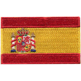 This flag consists of three horizontal stripes: red, yellow and red, the yellow stripe being twice the size of each red stripe. The Spanish coat of arms is off-centered toward the hoist (left).