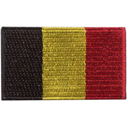 This flag consists of three vertical bars of equal width. From the hoist (left) to the fly (right) their colours are black, yellow, and red.