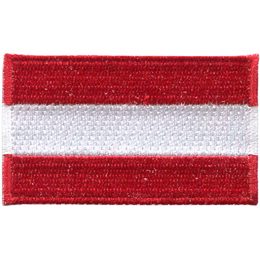 This rectangular shaped patch has three horizontal bars of the same size in the order of red, white, and red.