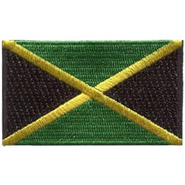 The Jamaican flag is divided into four sections by a yellow X. The top and bottom section is filled with green and the side sections are filled with black.