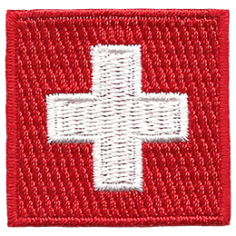 This badge displays Switzerland\'s flag: a red square with a white plus sign in the middle.