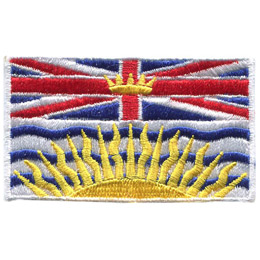 At the top of the BC flag is a rendition of the Royal Union Flag, defaced in the centre by a crown, and with a setting sun below.