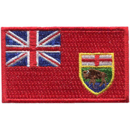 This flag features a bright red field and the Union Jack in the top left. The Manitoba Shield, centered right, shows a buffalo standing on a rock beneath the red cross of St. George.