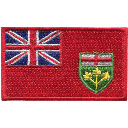 This rectangular patch features a bright red background. In the top left quarter sits the blue and red Union Jack. Near the bottom right of the flag is Ontario's provincial shield.