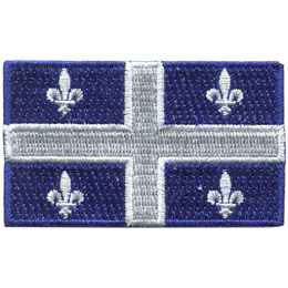 This rectangular flag consists of a blue background and a large white cross in the center separating the flag into four quarters. In each of these quarters is a Fleurdelyse.