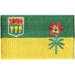 This flag is broken up into two horizontal bars. The top bar is green and the bottom is yellow. In the upper left hand quarter is the Saskatchewan coat of arms. The right hand side of the flag displays the western red lily.
