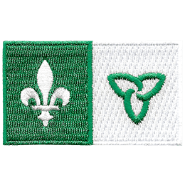 This rectangular patch shows the Franco-Ontario Flag. The left half of the flag has a white lily on a green background. The right half of the flag has a green trillium on a white background.