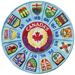 Province, Provincial, Territory, Territorial, Shields, Canada, Patch, Embroidered Patch, Merit Badge, Badge, Emblem, Iron On, Iron-On, Crest, Lapel Pin, Insignia, Girl Scouts, Boy Scouts, Girl Guides