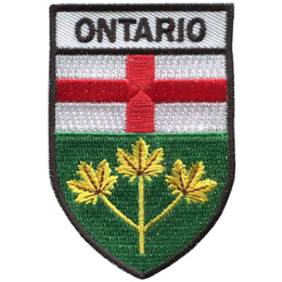 This shield shaped crest is broken up into three horizontal parts. At the top contains the word 'Ontario,' underneath it is the Ontario flag, and at the bottom are three golden maple leaves joined by one stem.