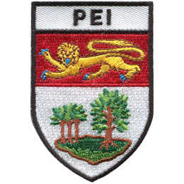 This shield shaped crest is broken up into three horizontal parts. At the top contains the letters 'PEI,' underneath it is the Prince Edward Island flag, and at the bottom is a grove of trees.