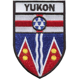 The lower part of the shield represents Yukon\'s mountains, with the gold disks representing the territory\'s mineral resources. The two white wavy lines represents the territory\'s rivers. The red cross represents England, the circular shield surmounting it is in a pattern called \'vair,\' a type of heraldic fur.