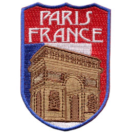 Paris, France, Eiffel Tower, Tourism, Tourist, Flag, Country, Patch, Embroidered Patch, Merit Badge, Iron On, Iron-On, Crest, Girl Scouts