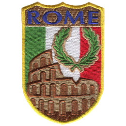 This shield patch displays the Roman Colosseum with Italy's flag as a background. The word 'Rome' sits at the top of the shield.