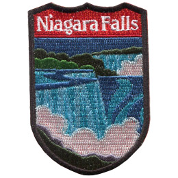 This emblem has the name 'Niagara Falls' at the top on a red background. Just below it, front and center is the a series of magnificent waterfalls.