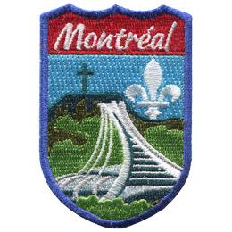This emblem has the name 'Montréal' at the top on a red background. In the section below the name is Montréal's famous landmark, the Olympic Stadium  with the Mount Royal Park in the background.
