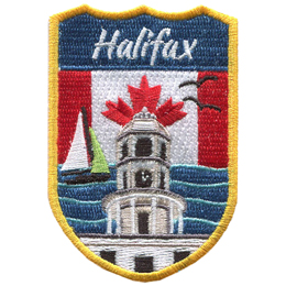 This crest displays the lighthouse of Peggy\'s Cove of Halifax surrounded by ocean waves, a sail boat, and gulls. In the background is the Canada flag.