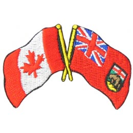 Canada, Manitoba, Friendship, Flag, Country, Province, Patch, Embroidered Patch, Merit Badge, Iron On, Iron-On, Crest, Girl Scouts