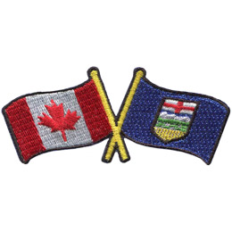 This badge displays the Canadian flag on the left and the Alberta flag on the right. The flag poles of each flag are crossed with each other, forming a X shape.