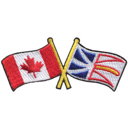 This badge displays the Canadian flag on the left and the Newfoundland & Labrador flag on the right. The flag poles of each flag are crossed with each other, forming a X shape.