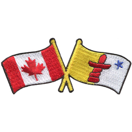 This badge displays the Canadian flag on the left and the Nunavut flag on the right. The flag poles of each flag are crossed with each other, forming a X shape.