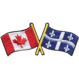 This badge displays the Canadian flag on the left and the Quebec flag on the right. The flag poles of each flag are crossed with each other, forming a X shape.