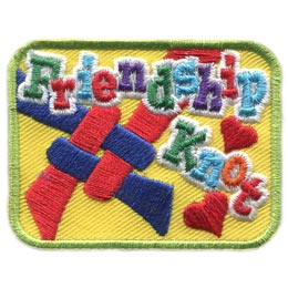 Friendship, Knot, Best Friends, Love, Heart, Tie, Scarf, Lapel Pin, Patch, Embroidered Patch, Merit Badge, Badge, Emblem, Iron On, Iron-On, Crest, Lapel Pin, Insignia, Girl Scouts, Girl Guides