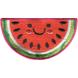 A slice of cute watermelon has dots for eyes and a big U shaped smile.