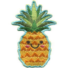 A cute pineapple has dots for eyes and a big U shaped smile.