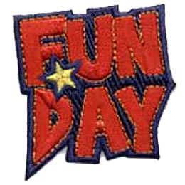The words Fun Day are embroidered in capitals with red thread. Fun sits on top of Day with a yellow star in the space between the F in Fun and D in Day.
