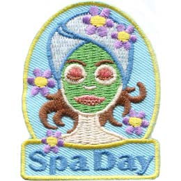 Spa, Mask, Makeup, Glamor, Salon, Beauty, Makeover, Patch, Embroidered Patch, Merit Badge, Badge, Emblem, Iron On, Iron-On, Crest, Lapel Pin, Insignia, Girl Scouts, Boy Scouts, Girl Guides