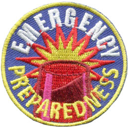 Emergency, Prepare, Preparedness, Siren, Fire, Police, Patch, Embroidered Patch, Merit Badge, Badge, Emblem, Iron On, Iron-On, Crest, Lapel Pin, Insignia, Girl Scouts, Boy Scouts, Girl Guides