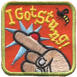 I Got Stung, Bug, Bite, Sting, Bee, Swelling, Finger, Patch, Embroidered Patch, Merit Badge, Badge, Emblem, Iron On, Iron-On, Crest, Lapel Pin, Insignia, Girl Scouts, Boy Scouts, Girl Guides