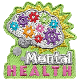 A brain is filled with multi-coloured gears. The words 'mental Health' rest below it.