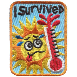 This rectangular patch displays a sweating cartoon sun looking worriedly at a thermostat that is erupting because it is so hot. Text at the top of the badge reads 'I Survived' and 'Camp' at the bottom.