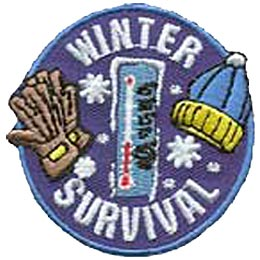 This oval badge depicts a set of gloves to the left, a thermometer in the center, and a winter hat to the right. The word ''Winter'' is written at the top and ''Survival'' at the bottom.
