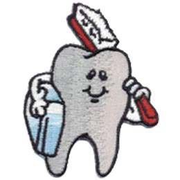 Dental Hygiene, Tooth, Toothbrush, Teeth, Floss, Dentist, Patch, Embroidered Patch, Merit Badge, Crest, Girl Scouts, Boy Scouts, Girl Guides