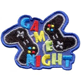 Two game console controllers are diagonal of each other. In between the controllers the word, ''Game'' drops down towards the bottom of the crest. The word  ''Night'' rests along the bottom of the patch.