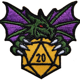 A green dragon clutches a golden twenty-sided dice in its front claws. The dragon has its wings spread out behind it.