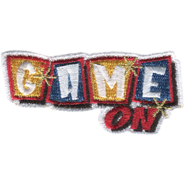 This patch is comprised of the words Game On with On to the bottom right of Game. Game is formed with each individual word as if on a game piece tile, with the tiles alternating in colour from yellow to blue, yellow to blue. Three metallic stars decorate this patch: one on the G, one on the M, and one between the E of Game and N of On.
