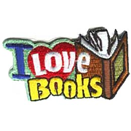 I Love Books, Book, Reading, Library, Bookworm, Merit Badge, Patch, Crest, Girl Guides, Girl Scouts, Boy Scouts