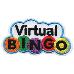 This cloud shaped crest has the words Virtual Bingo inside it. Each letter of Bingo is inside a colourful ball.