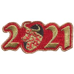 The year 2021 is embroidered in metallic gold thread on a red background. The zero is black with a gold and red ox emerging from it.